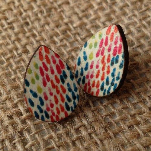 Wooden earrings teardrop raindrops