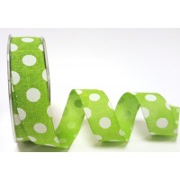 Burlap ribbon lime and white polka dot