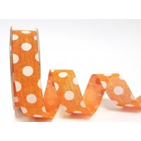 Burlap ribbon orange and white polka dot