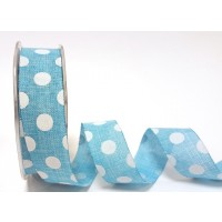 Burlap ribbon blue and white polka dot