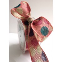 Burlap 38mm dotty print bertie bows ribbon blue