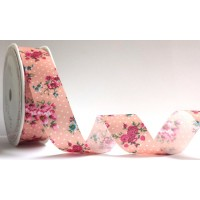 Bertie bows floral ribbon pink 25mm
