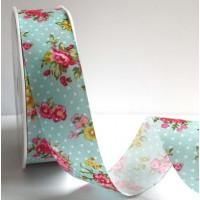 Vintage Blue Floral Polka Dot Print Bertie's Bows Ribbon