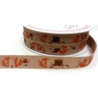 Orange Fox Forest Friends Print Ribbon 15mm