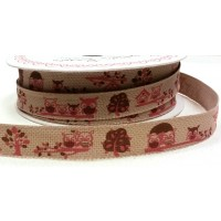 Burlap 15mm Pink Owl Forest Friends Print Ribbon