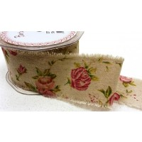 Antique Rose Print Burlap Ribbon 50mm