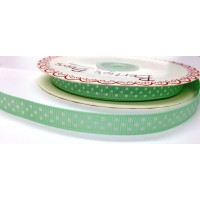 Bertie bows mint polka dot ribbon 9mm