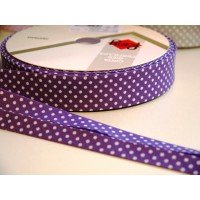 Polka dot bia binding purple 18mm