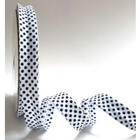 Bia Binding 18mm white with black polka dot