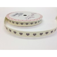 Bertie bows grey heart ribbon 9mm