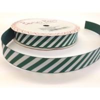 Candy cane stripe green and white ribbon 18mm
