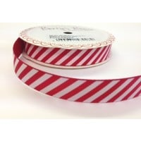 Candy cane stripe red and white ribbon 18mm
