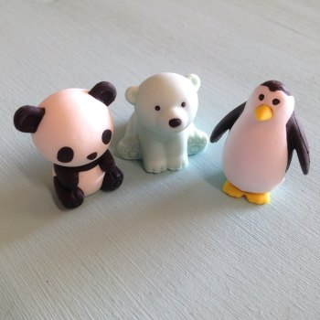 Collectable Erasers Panda, Penguin, Polar Bear