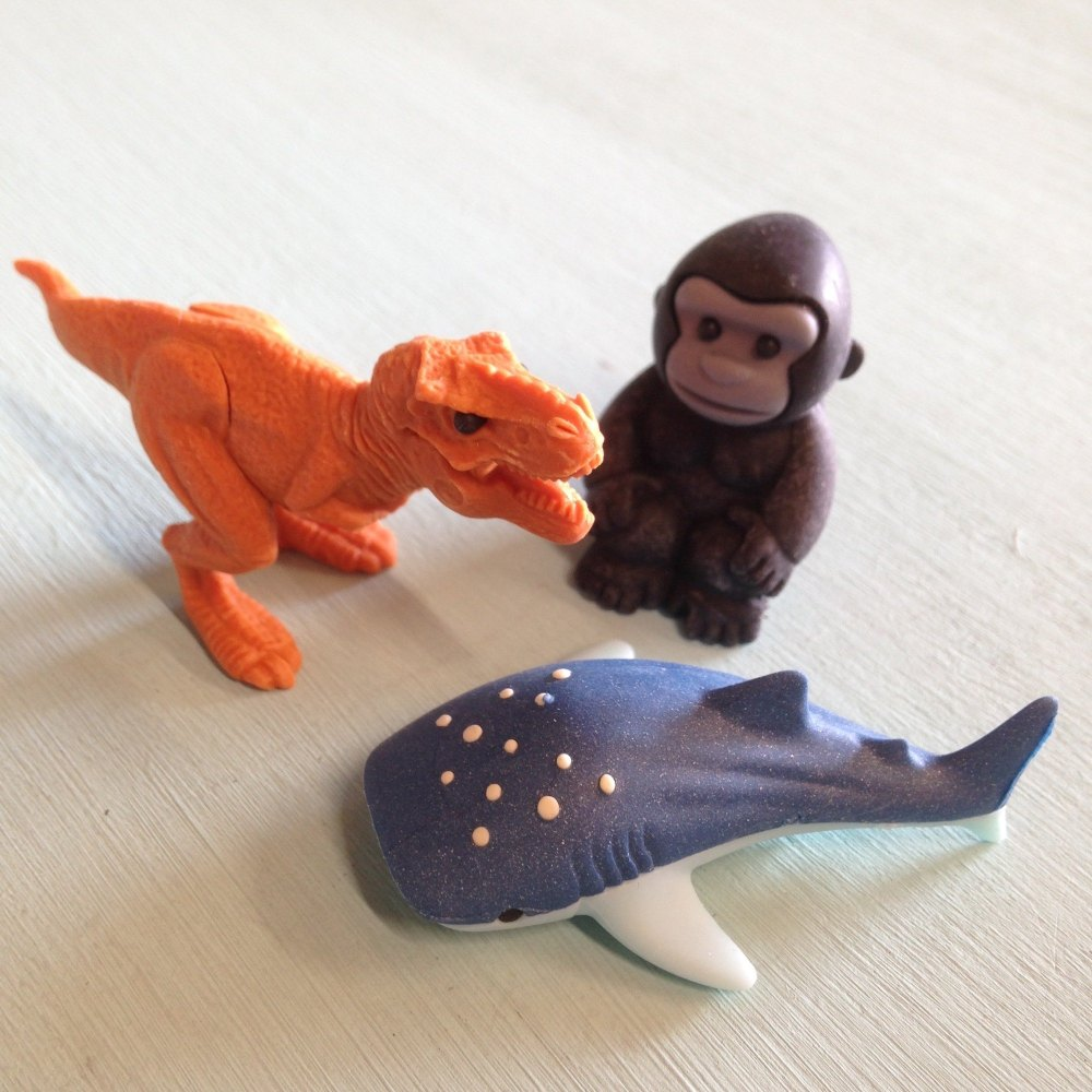 Collectable Erasers T-rex, Gorilla, whale Shark