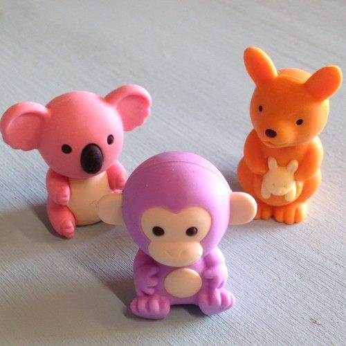 Collectable Erasers Kangaroo, Koala, Monkey