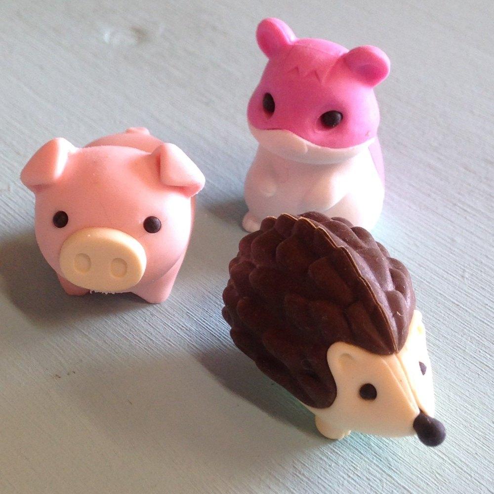 Collectable Erasers Hamster, Hedgehog, Pig