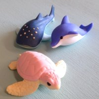 Collectable Erasers whale shark, turtle, dolphin