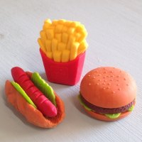 Collectable Erasers Hamburger, Fries, Hotdog