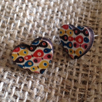 Multi Coloured Heart Wooden Studs