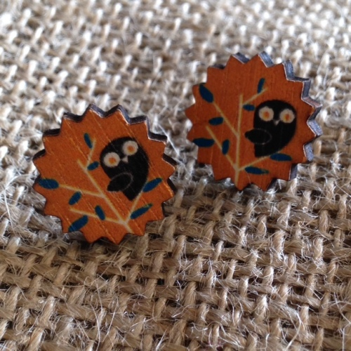 Owl Printed Wooden Studs