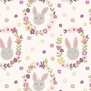 Bunny Garden Wreath Fabric Lewis & Irene