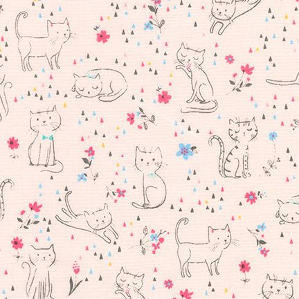 Robert Kaufman Whiskers and Tails Cotton Fabric