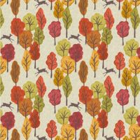 Lewis And Irene Autumn in Bluebell Wood Leaping Deer Cotton Fabric