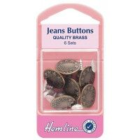 Hemline Jean Buttons Brass 16mm