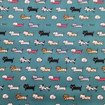 Cats in Line Laminated Fabric