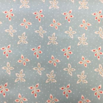 Blue Floral Laminated Fabric