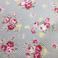Grey Polka Dot floral Laminated Fabric