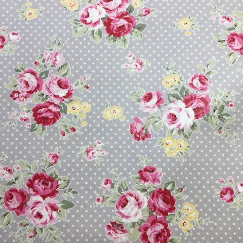 Grey Polka Dot floral Laminated Fabric