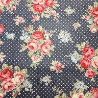 Blue Polka Dot Floral Laminated Fabric