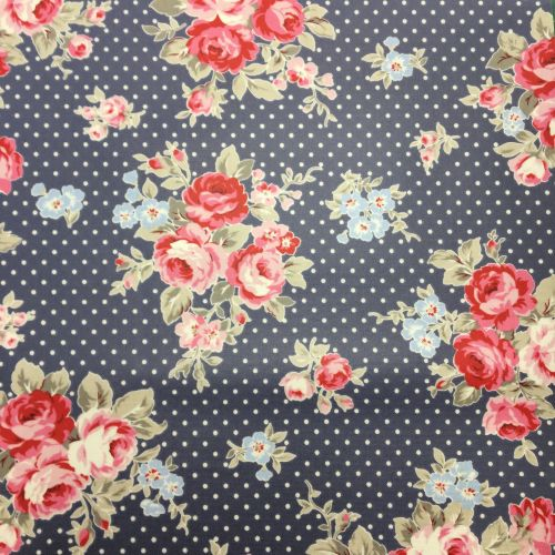 Blue Polka Dot Floral Laminated Fabric