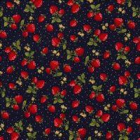 Cotton Poplin Strawberries on Navy