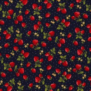 Cotton Poplin Strawberries on Navy