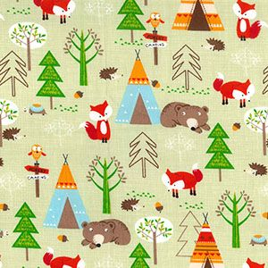 Cotton Poplin Foxy Forest