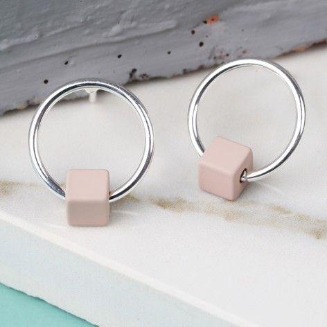 Tiny Silver Hoop Stud Earrings in Matt Dusky Pink