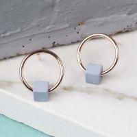 Tiny Rose Gold Hoop Stud Earrings in Matt Grey