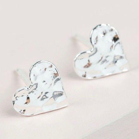 Hammered Heart Stud Earrings in Silver