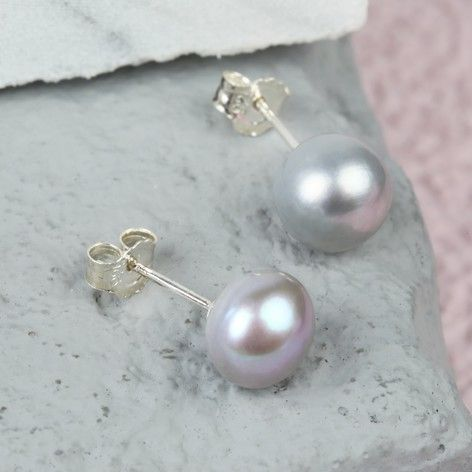 Grey Sterling Silver Freshwater Pearl Stud Earrings