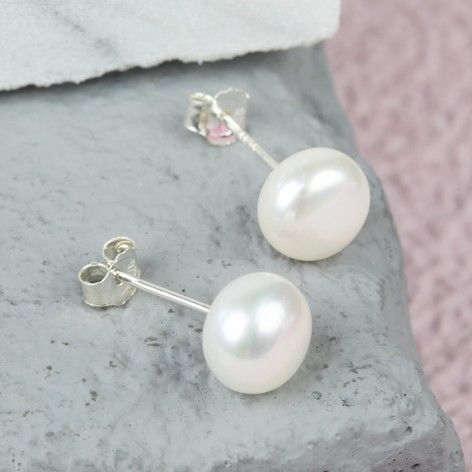 Ivory Sterling Silver Freshwater Pearl Stud Earrings