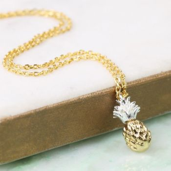 Gold and Silver Dipped Pineapple Necklace