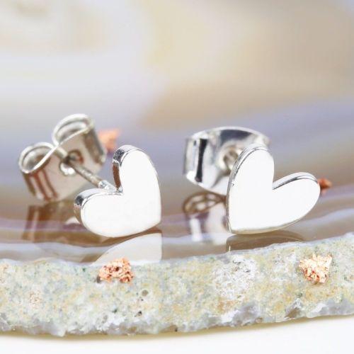 Shiny Silver Heart Stud Earrings