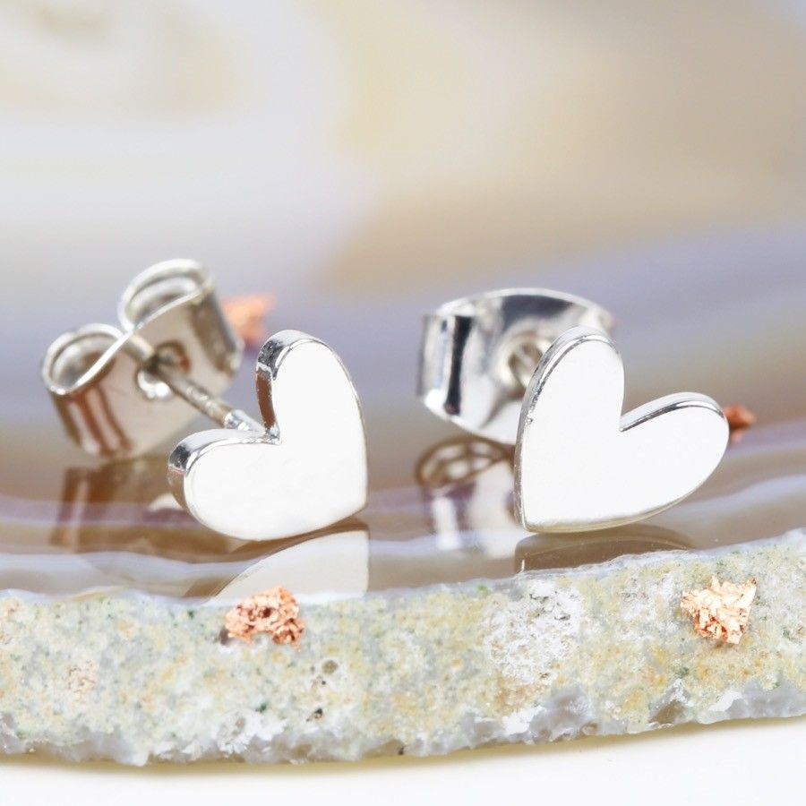 Shiny Silver Heart Stud Earrings