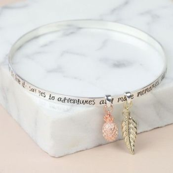 Silver 'Say Yes to Adventure' Meaningful Words Charm Bangle