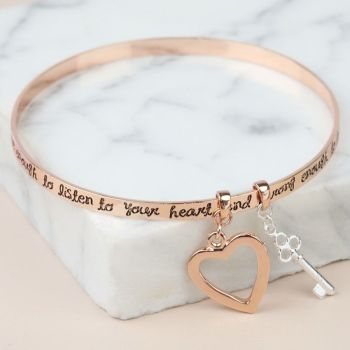 Rose Gold 'Bold and Brave' Meaningful Words Charm Bangle