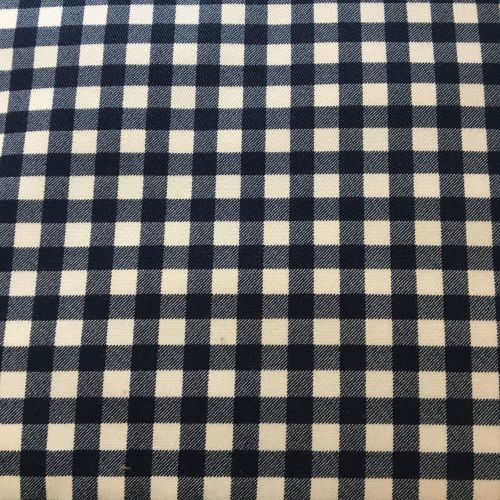 Navy Gingham Cotton Linen Mix