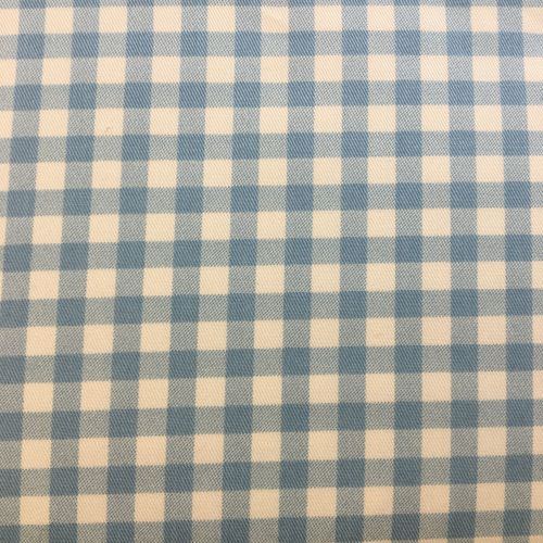 Gingham Cotton Linen Mix Baby Blue