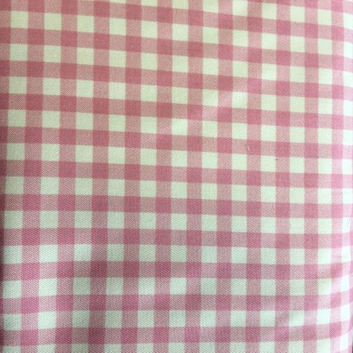 Gingham Cotton Linen Mix Pink